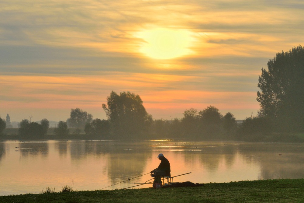 A fisherman in the morning.